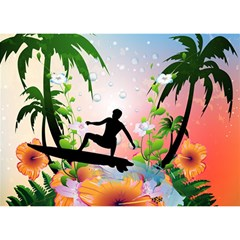 Tropical Design With Surfboarder Birthday Cake 3D Greeting Card (7x5)