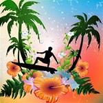Tropical Design With Surfboarder Happy New Year 3D Greeting Card (8x4)  Inside