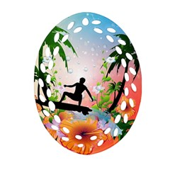 Tropical Design With Surfboarder Oval Filigree Ornament (2-Side)