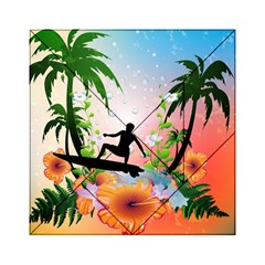 Tropical Design With Surfboarder Acrylic Tangram Puzzle (6  x 6 )