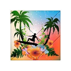 Tropical Design With Surfboarder Acrylic Tangram Puzzle (4  x 4 )