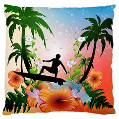 Tropical Design With Surfboarder Large Cushion Cases (Two Sides)