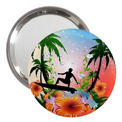 Tropical Design With Surfboarder 3  Handbag Mirrors