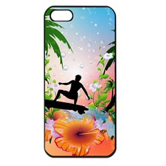 Tropical Design With Surfboarder Apple iPhone 5 Seamless Case (Black)