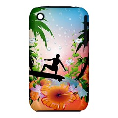 Tropical Design With Surfboarder Apple iPhone 3G/3GS Hardshell Case (PC+Silicone)