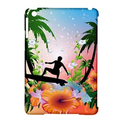 Tropical Design With Surfboarder Apple iPad Mini Hardshell Case (Compatible with Smart Cover)