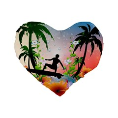 Tropical Design With Surfboarder Standard 16  Premium Heart Shape Cushions