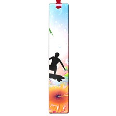 Tropical Design With Surfboarder Large Book Marks