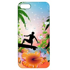 Tropical Design With Surfboarder Apple iPhone 5 Hardshell Case with Stand
