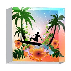 Tropical Design With Surfboarder 5  x 5  Acrylic Photo Blocks