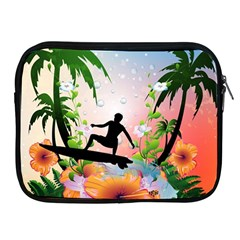 Tropical Design With Surfboarder Apple iPad 2/3/4 Zipper Cases