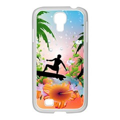 Tropical Design With Surfboarder Samsung GALAXY S4 I9500/ I9505 Case (White)
