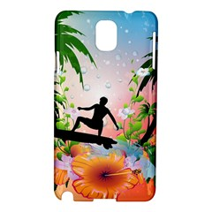 Tropical Design With Surfboarder Samsung Galaxy Note 3 N9005 Hardshell Case