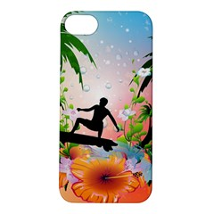 Tropical Design With Surfboarder Apple iPhone 5S Hardshell Case
