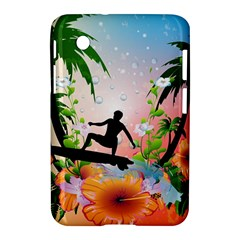 Tropical Design With Surfboarder Samsung Galaxy Tab 2 (7 ) P3100 Hardshell Case