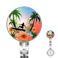 Tropical Design With Surfboarder Stainless Steel Nurses Watches