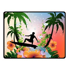 Tropical Design With Surfboarder Double Sided Fleece Blanket (Small)