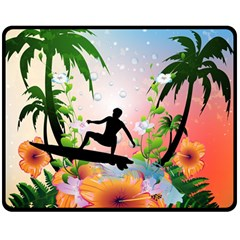 Tropical Design With Surfboarder Double Sided Fleece Blanket (Medium)