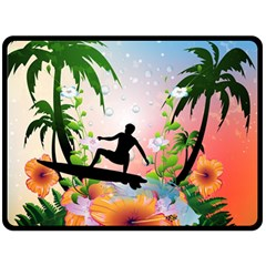 Tropical Design With Surfboarder Double Sided Fleece Blanket (Large)