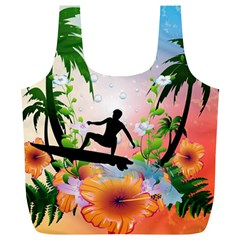 Tropical Design With Surfboarder Full Print Recycle Bags (L)