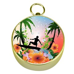 Tropical Design With Surfboarder Gold Compasses