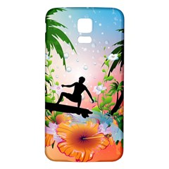 Tropical Design With Surfboarder Samsung Galaxy S5 Back Case (White)