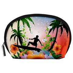 Tropical Design With Surfboarder Accessory Pouches (Large)