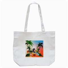 Tropical Design With Surfboarder Tote Bag (white)