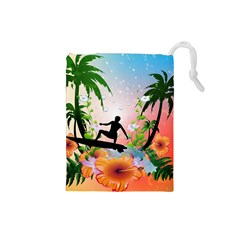 Tropical Design With Surfboarder Drawstring Pouches (Small)