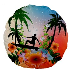 Tropical Design With Surfboarder Large 18  Premium Flano Round Cushions