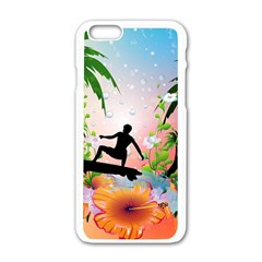 Tropical Design With Surfboarder Apple iPhone 6/6S White Enamel Case