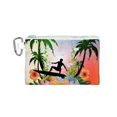 Tropical Design With Surfboarder Canvas Cosmetic Bag (S)