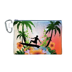 Tropical Design With Surfboarder Canvas Cosmetic Bag (M)