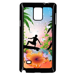 Tropical Design With Surfboarder Samsung Galaxy Note 4 Case (black)