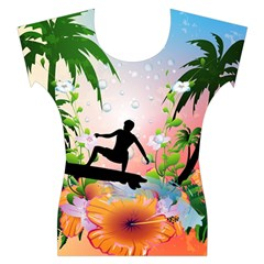 Tropical Design With Surfboarder Women s Cap Sleeve Top