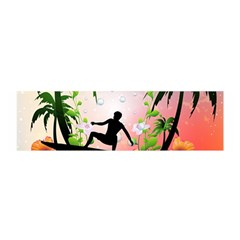 Tropical Design With Surfboarder Satin Scarf (oblong)