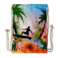 Tropical Design With Surfboarder Drawstring Bag (Large)