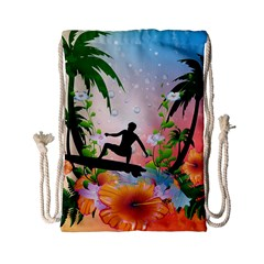 Tropical Design With Surfboarder Drawstring Bag (small)