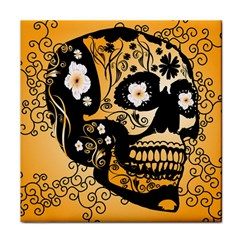 Sugar Skull In Black And Yellow Tile Coasters