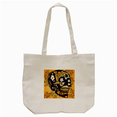 Sugar Skull In Black And Yellow Tote Bag (Cream)