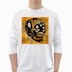 Sugar Skull In Black And Yellow White Long Sleeve T Shirts