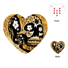 Sugar Skull In Black And Yellow Playing Cards (Heart)