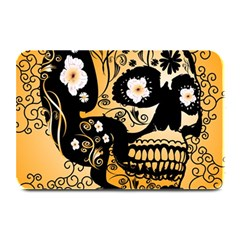 Sugar Skull In Black And Yellow Plate Mats