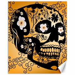 Sugar Skull In Black And Yellow Canvas 11  X 14