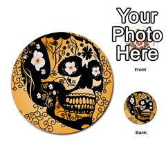 Sugar Skull In Black And Yellow Multi Purpose Cards (round)
