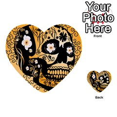 Sugar Skull In Black And Yellow Multi Purpose Cards (heart)