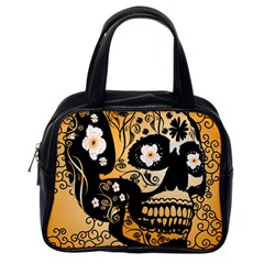 Sugar Skull In Black And Yellow Classic Handbags (One Side)