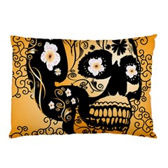 Sugar Skull In Black And Yellow Pillow Cases
