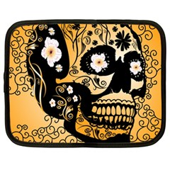 Sugar Skull In Black And Yellow Netbook Case (XXL)