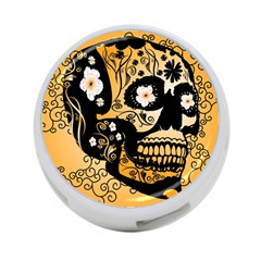 Sugar Skull In Black And Yellow 4-Port USB Hub (Two Sides)
